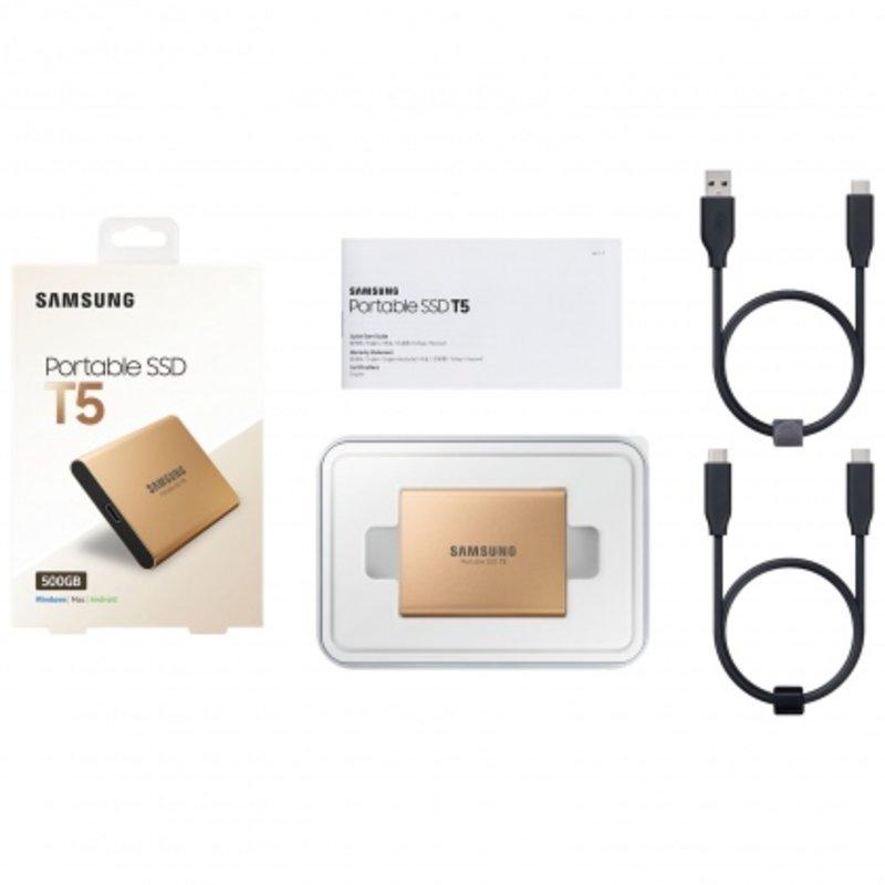 Ổ cứng di động SSD Portable 500GB Samsung T5 (Màu vàng Gold)