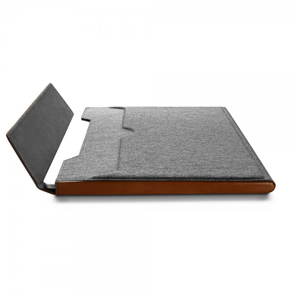 TÚI CHỐNG SỐC TOMTOC (USA) PREMIUM LEATHER FOR MACBOOK 13″ NEW GRAY
